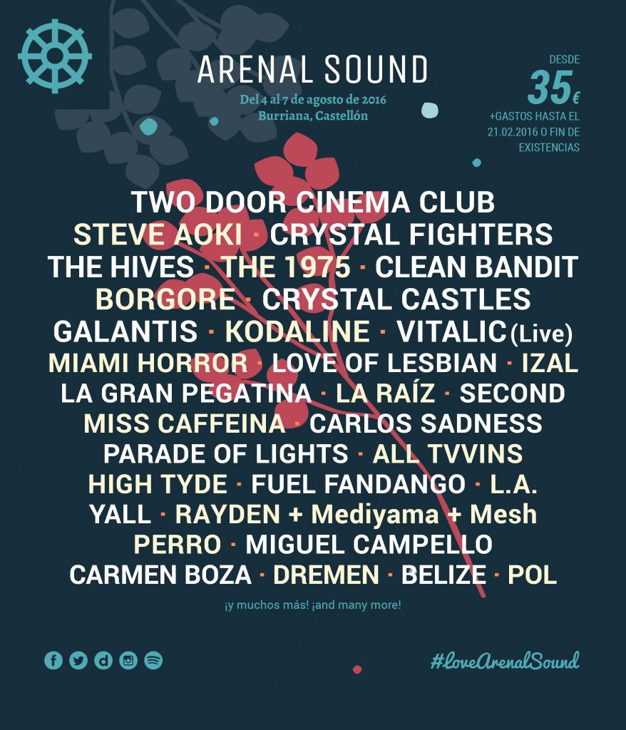 Arenal Sound 2016 Cartell