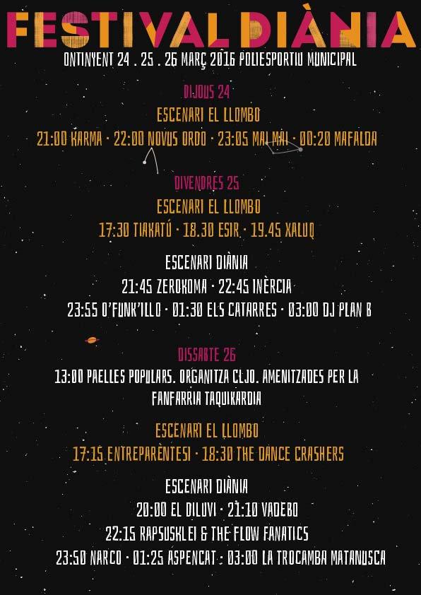horaris festival diania 2016