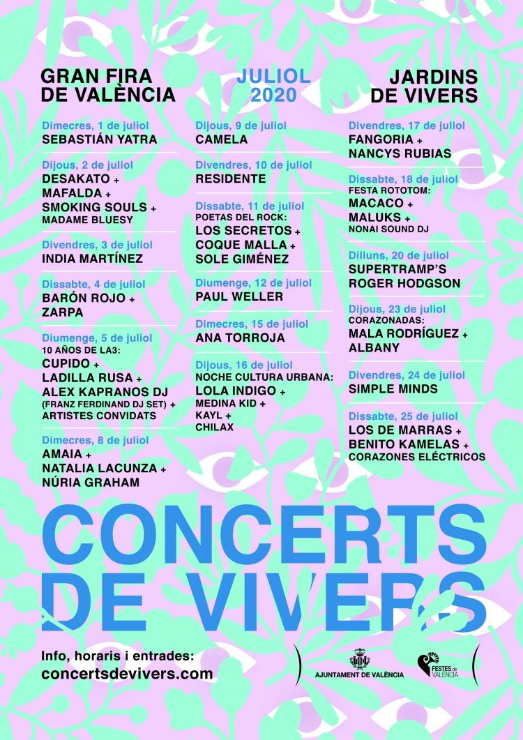 Consulta tota la programació dels Concerts de Vivers 2020